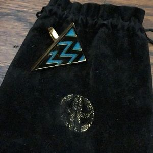 House of Harlow teal & gold triangle ring